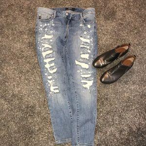 Torrid premium white adorned jeans